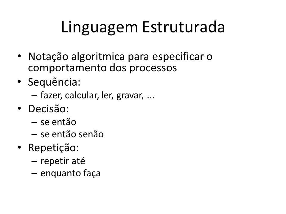 Linguagem Estruturada Notação algoritmica para especificar o comportamento dos processos Sequência: – fazer, calcular, ler, gravar,... Decisão: – se e
