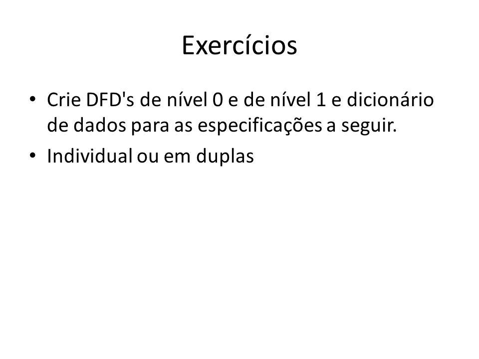 Exercícios Crie DFD's de nível 0 e de nível 1 e dicionário de dados para as especificações a seguir. Individual ou em duplas