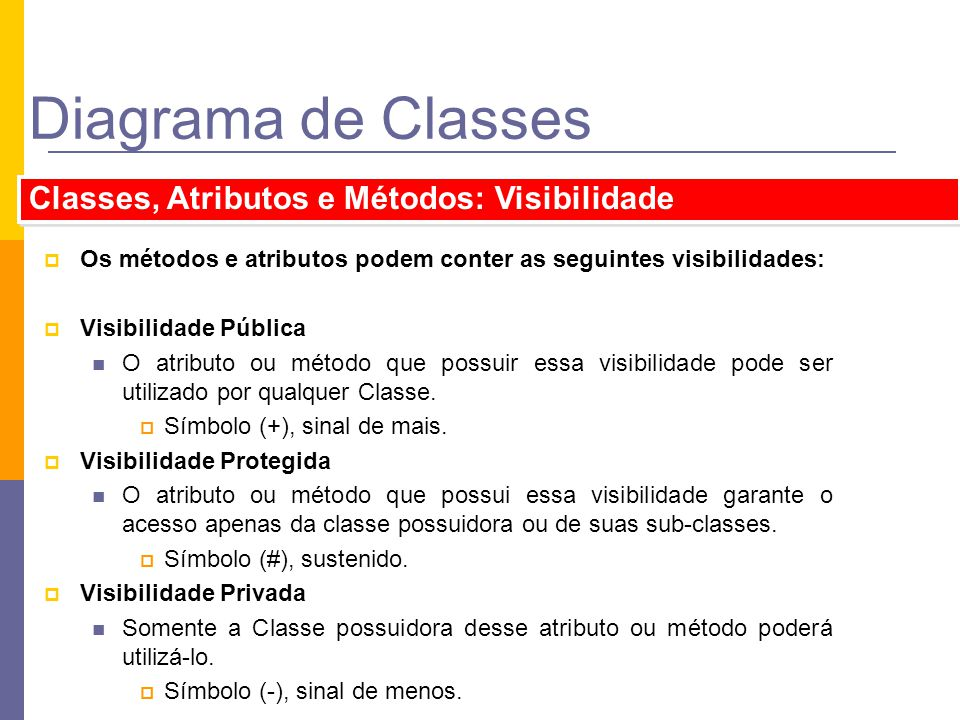 Diagrama de Classes Classes, Atributos e Métodos: Visibilidade Os métodos e atributos podem conter as seguintes visibilidades: Visibilidade Pública O