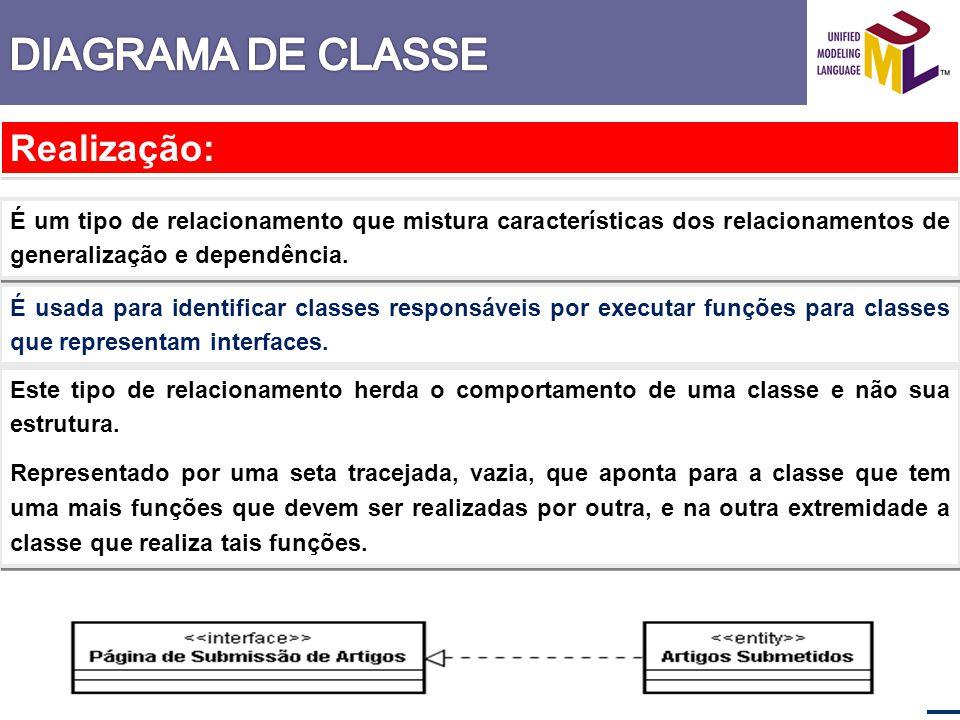 Realização: É um tipo de relacionamento que mistura características dos relacionamentos de generalização e dependência. É usada para identificar class