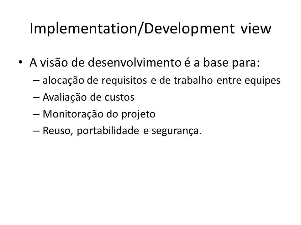 Implementation/Development view A visão de desenvolvimento é a base para: – alocação de requisitos e de trabalho entre equipes – Avaliação de custos –