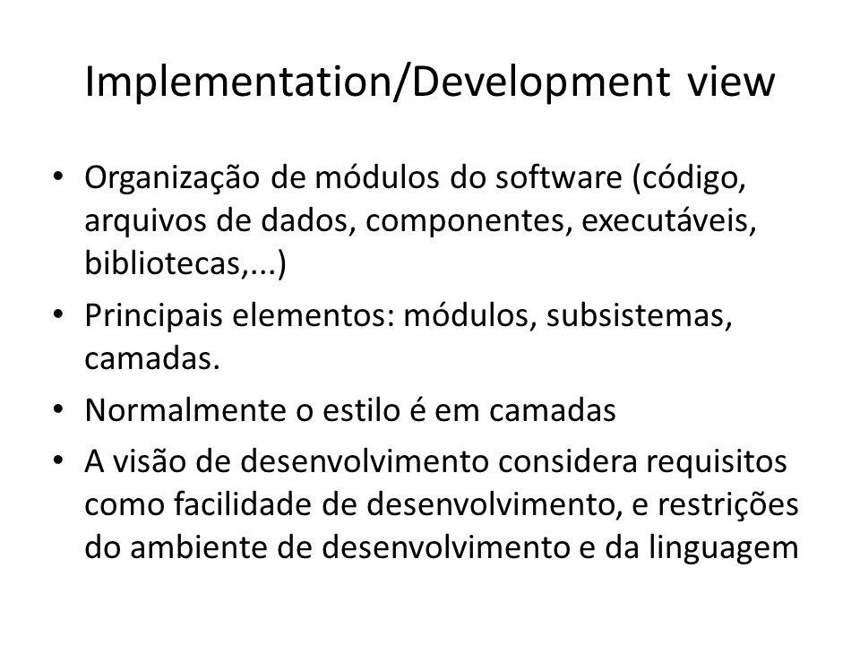Implementation/Development view Organização de módulos do software (código, arquivos de dados, componentes, executáveis, bibliotecas,...) Principais e