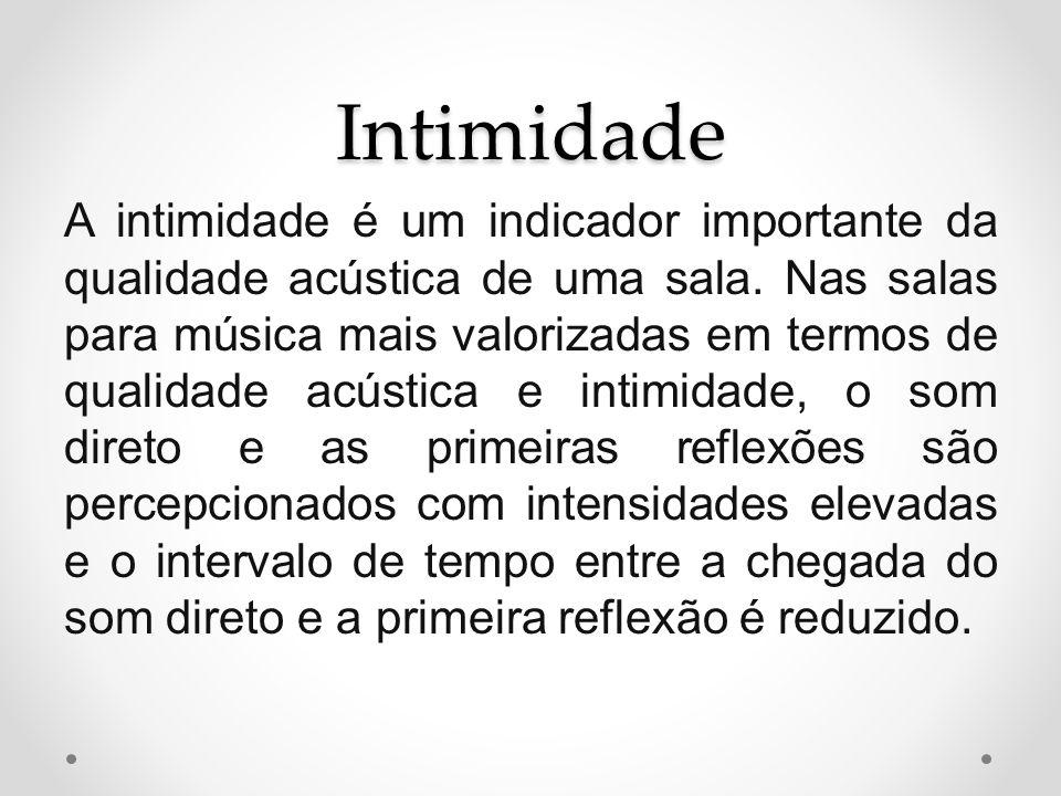 Intimidade A intimidade é um indicador importante da qualidade acústica de uma sala. Nas salas para música mais valorizadas em termos de qualidade acú