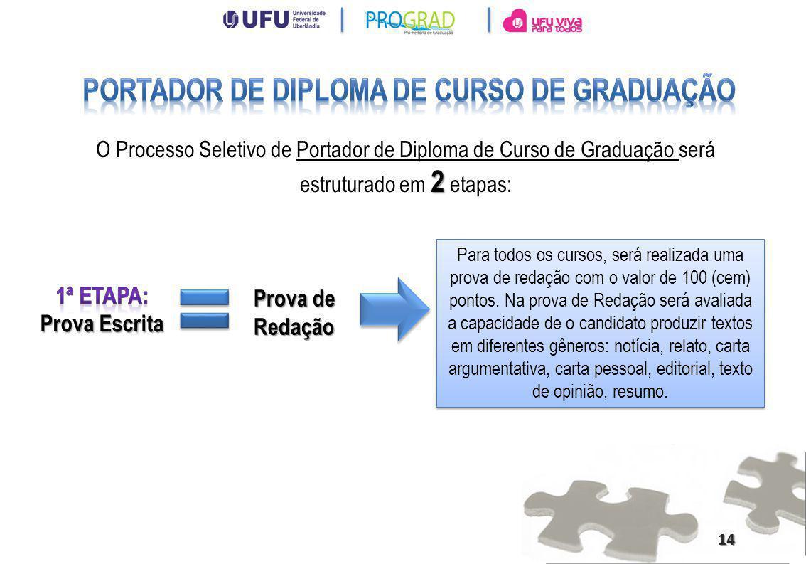 2 O Processo Seletivo de Portador de Diploma de Curso de Graduação será estruturado em 2 etapas: Para todos os cursos, será realizada uma prova de red