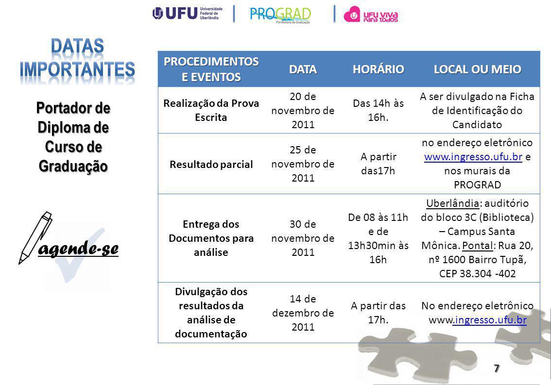 PROCEDIMENTOS E EVENTOS DATAHORÁRIO LOCAL OU MEIO Entrega dos recursos referentes à análise de documentação 15 de dezembro de 2011 Das 9h às 11h.