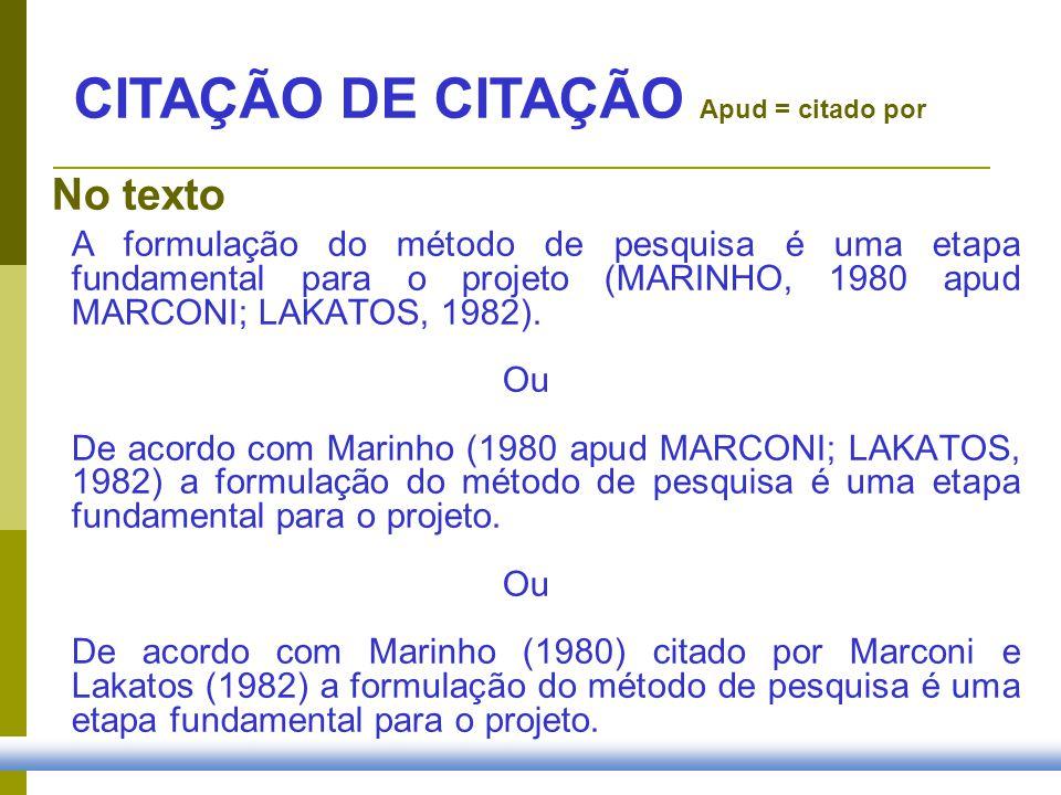 No texto A formulação do método de pesquisa é uma etapa fundamental para o projeto (MARINHO, 1980 apud MARCONI; LAKATOS, 1982). Ou De acordo com Marin