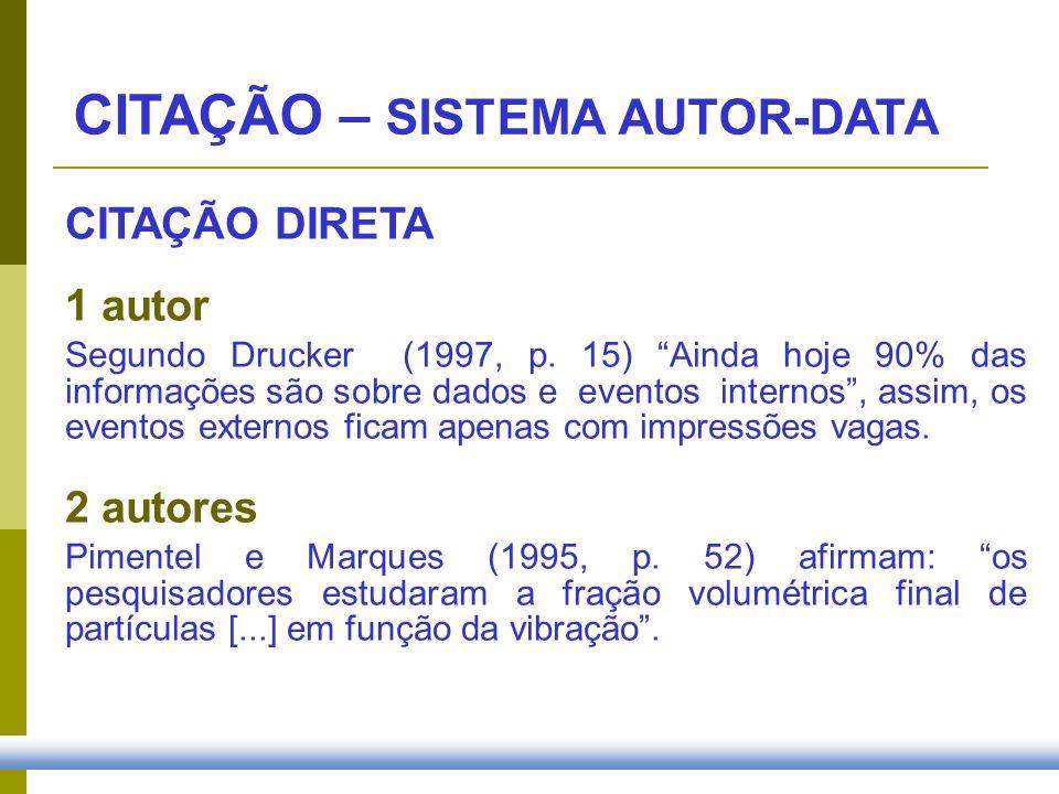 1 autor Segundo Drucker (1997, p. 15) Ainda hoje 90% das informações são sobre dados e eventos internos, assim, os eventos externos ficam apenas com i