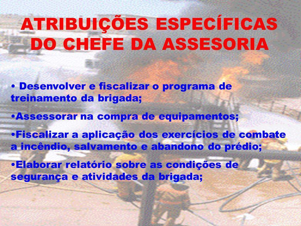 ATRIBUIÇÕES ESPECÍFICAS DO CHEFE DA ASSESORIA Desenvolver e fiscalizar o programa de treinamento da brigada; Assessorar na compra de equipamentos; Fis