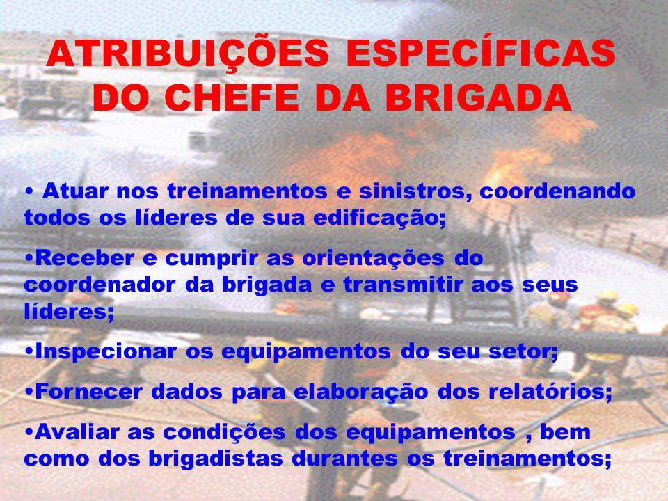 ATRIBUIÇÕES ESPECÍFICAS DO CHEFE DA BRIGADA Atuar nos treinamentos e sinistros, coordenando todos os líderes de sua edificação; Receber e cumprir as o