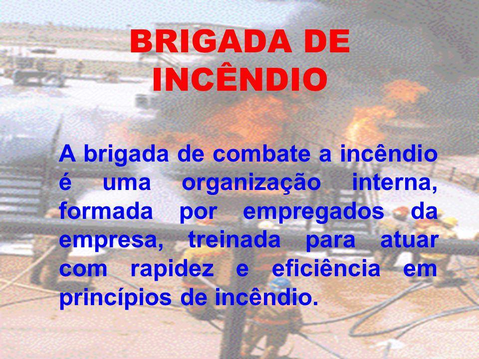 BRIGADA DE INCÊNDIO A brigada de combate a incêndio é uma organização interna, formada por empregados da empresa, treinada para atuar com rapidez e ef