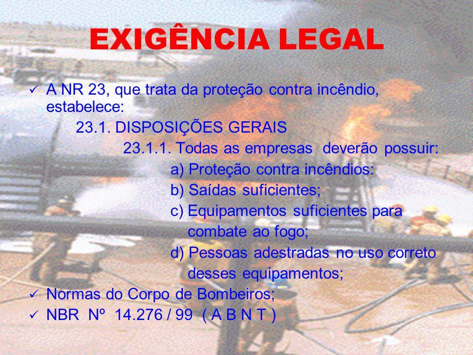 EXIGÊNCIA LEGAL A NR 23, que trata da proteção contra incêndio, estabelece: 23.1. DISPOSIÇÕES GERAIS 23.1.1. Todas as empresas deverão possuir: a) Pro