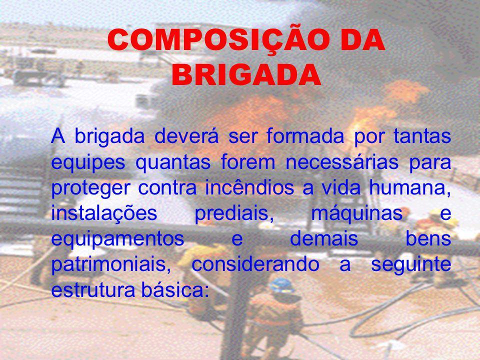 COMPOSIÇÃO DA BRIGADA A brigada deverá ser formada por tantas equipes quantas forem necessárias para proteger contra incêndios a vida humana, instalaç