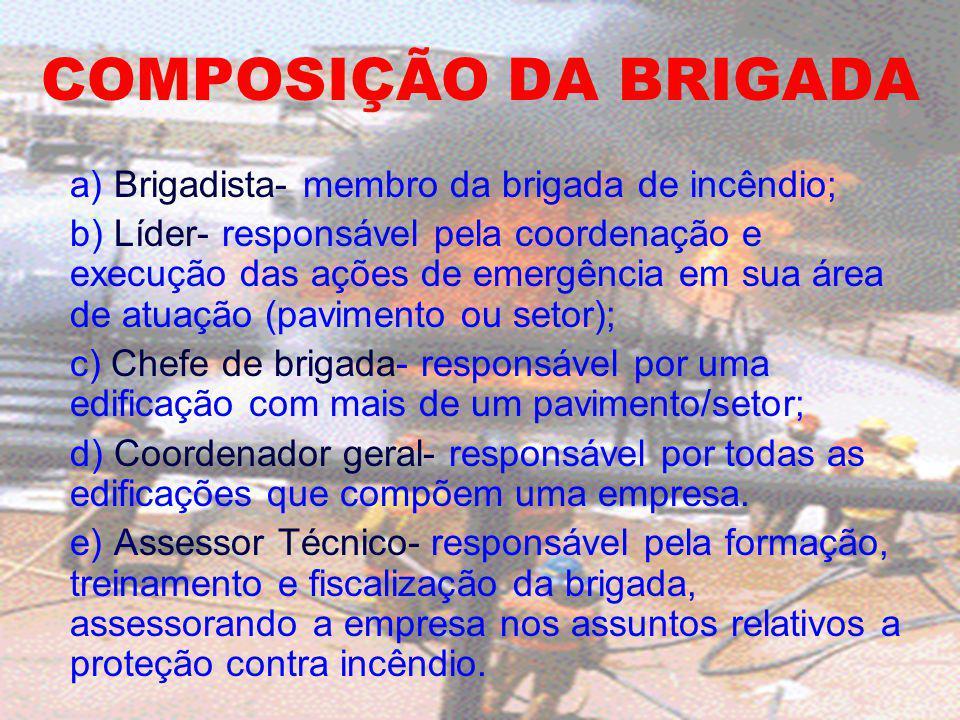 COMPOSIÇÃO DA BRIGADA a) Brigadista- membro da brigada de incêndio; b) Líder- responsável pela coordenação e execução das ações de emergência em sua á