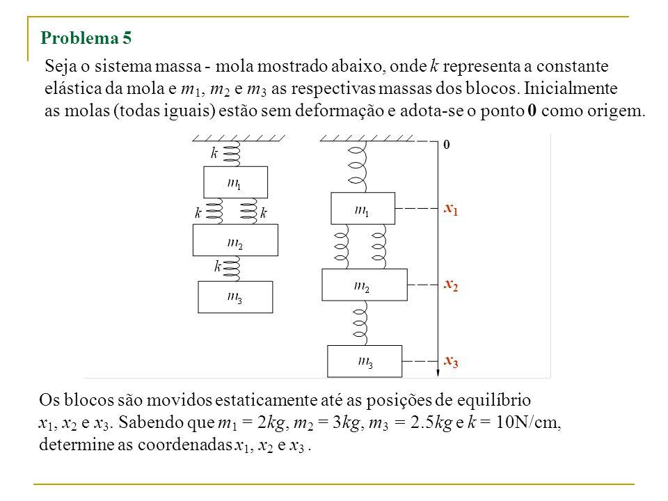 Problema 5 Seja o sistema massa - mola mostrado abaixo, onde k representa a constante elástica da mola e m 1, m 2 e m 3 as respectivas massas dos blocos.