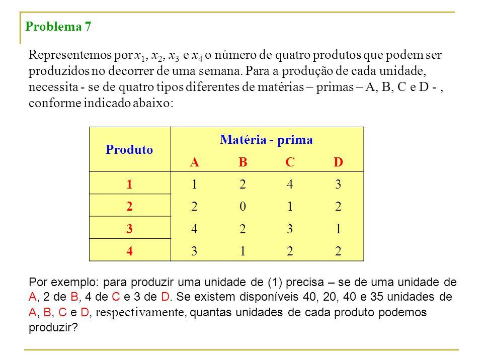 Representemos por x 1, x 2, x 3 e x 4 o número de quatro produtos que podem ser produzidos no decorrer de uma semana.