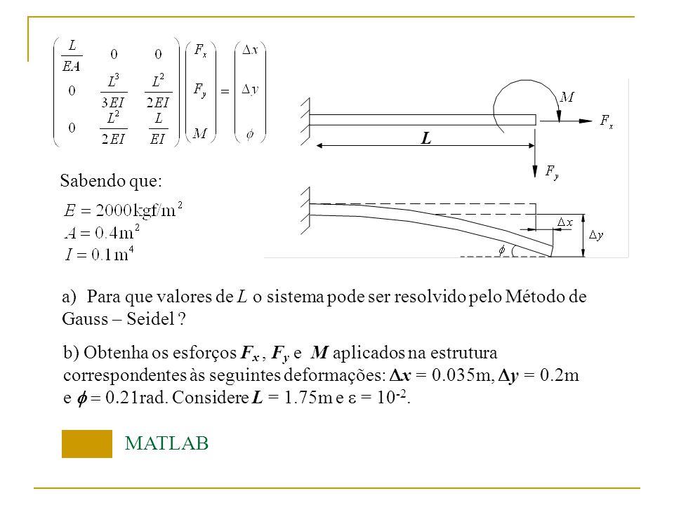 L Sabendo que: MATLAB b) Obtenha os esforços F x, F y e M aplicados na estrutura correspondentes às seguintes deformações: x = 0.035m, y = 0.2m e rad.