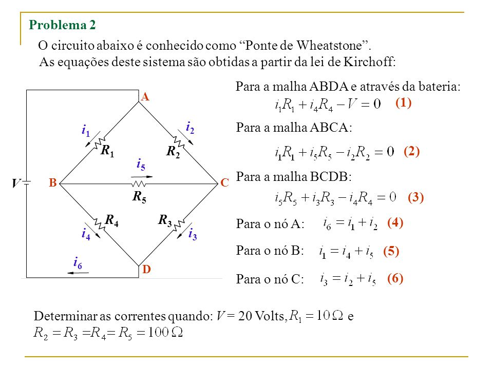 Substituindo as constantes escrevemos o seguinte sistema: MATLAB C A B D i1i1 i2i2 i3i3 i4i4 i5i5 i6i6 10 100 20 Obtenha a solução aplicando o método de Eliminação de Gauss.