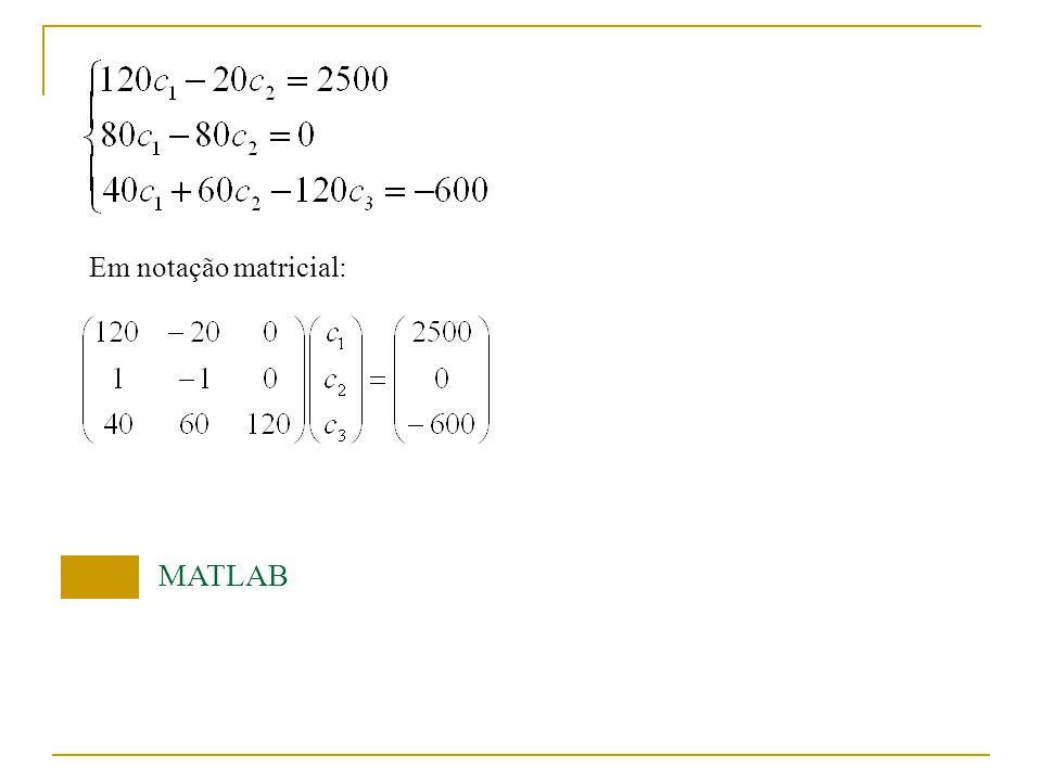 Em notação matricial: MATLAB