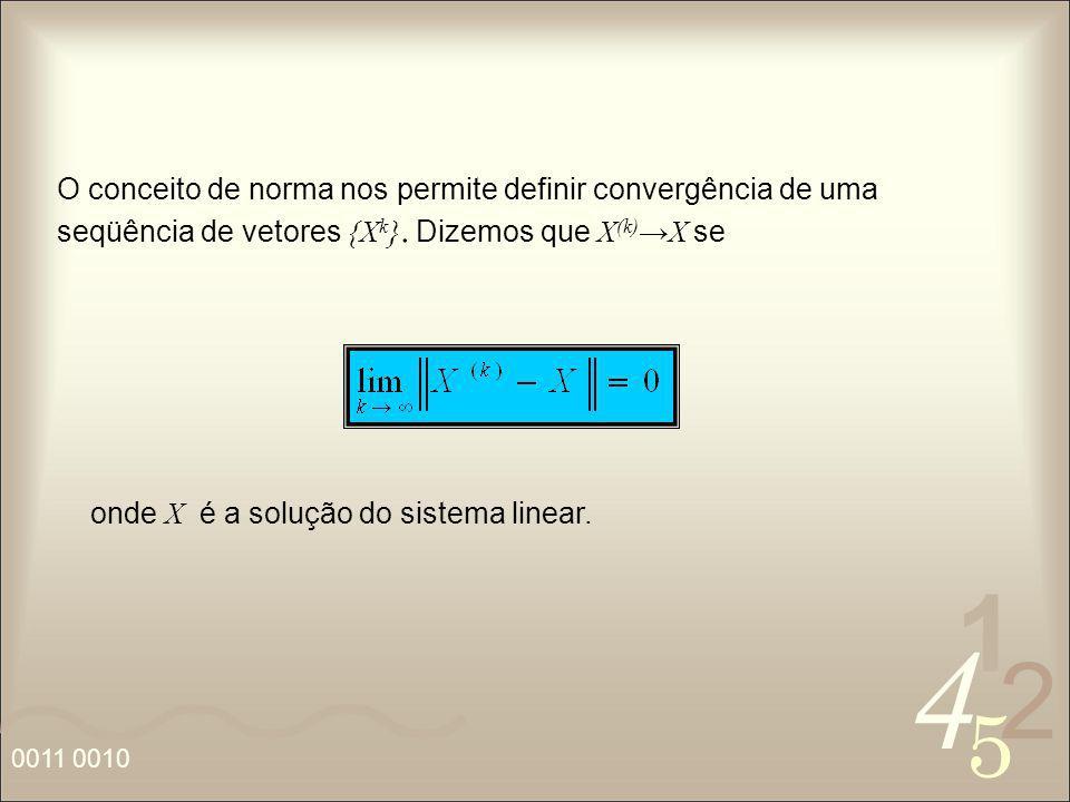 4 2 5 1 0011 0010 onde X é a solução do sistema linear. O conceito de norma nos permite definir convergência de uma seqüência de vetores {X k }. Dizem