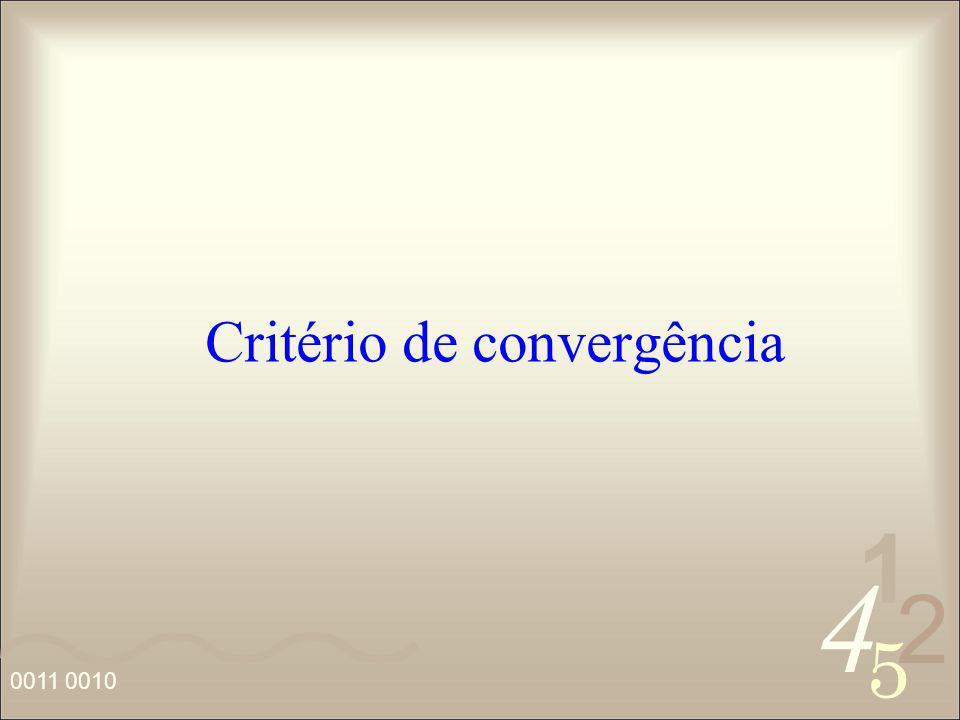 4 2 5 1 0011 0010 Critério de convergência