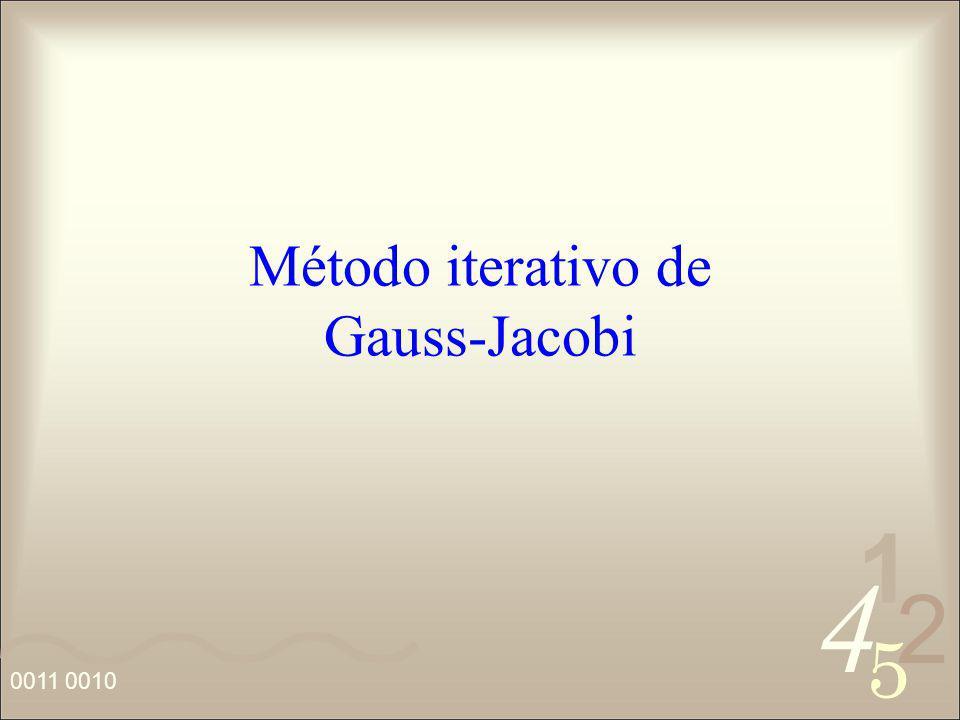4 2 5 1 0011 0010 Método iterativo de Gauss-Jacobi
