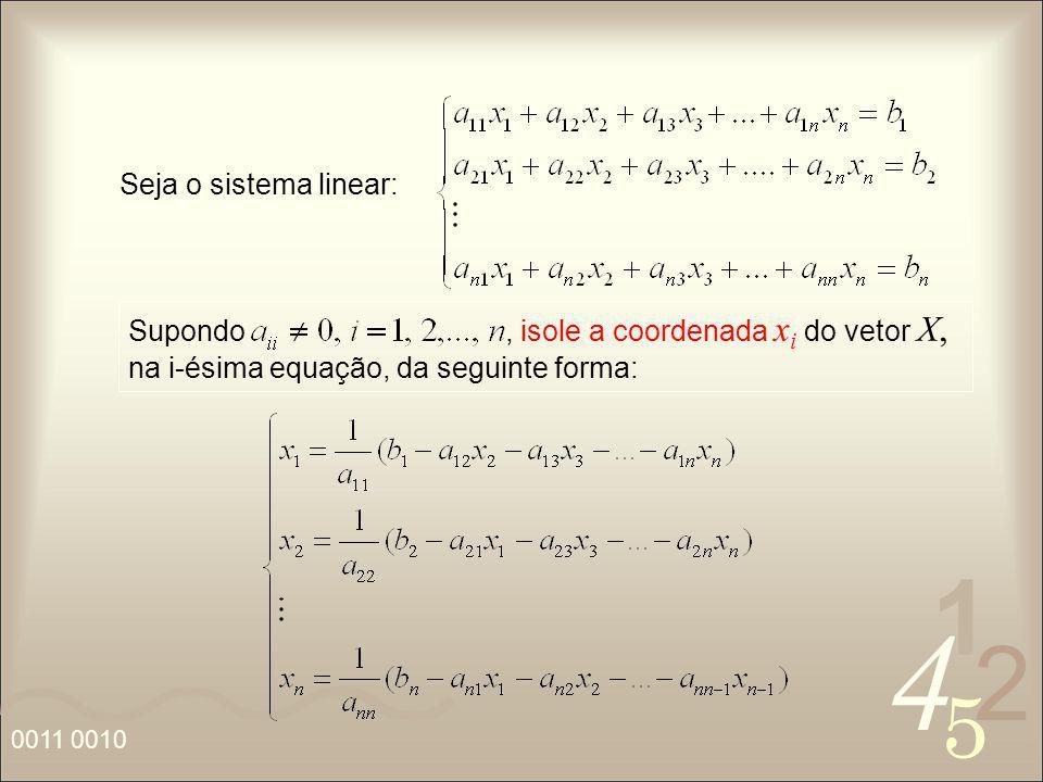 4 2 5 1 0011 0010 Seja o sistema linear: Supondo, isole a coordenada x i do vetor X, na i-ésima equação, da seguinte forma: