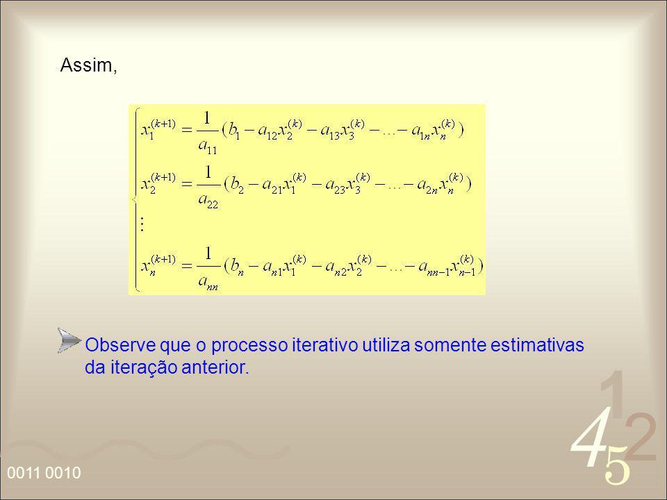 4 2 5 1 0011 0010 Observe que o processo iterativo utiliza somente estimativas da iteração anterior. Assim,