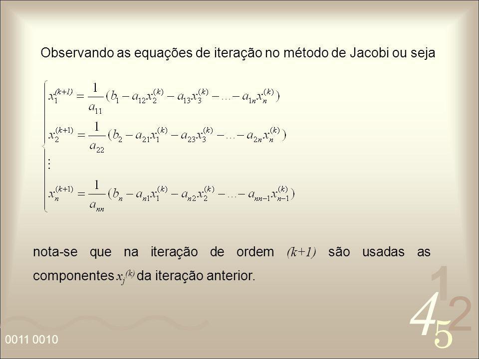 4 2 5 1 0011 0010 Observando as equações de iteração no método de Jacobi ou seja nota-se que na iteração de ordem (k+1) são usadas as componentes x j