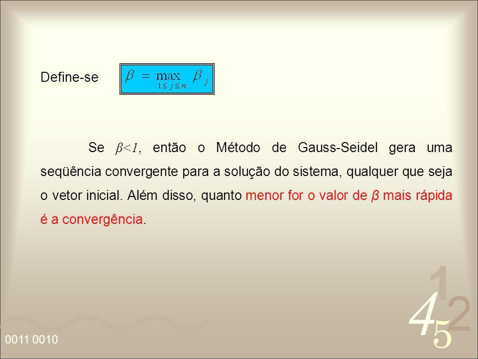 4 2 5 1 0011 0010 Define-se Se β<1, então o Método de Gauss-Seidel gera uma seqüência convergente para a solução do sistema, qualquer que seja o vetor