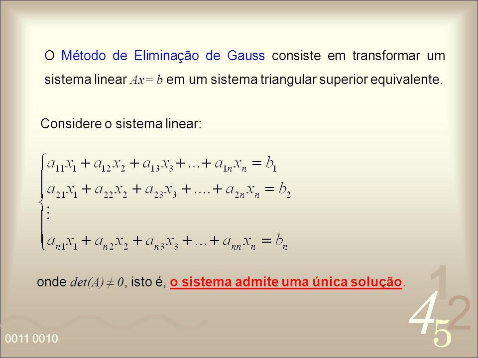 4 2 5 1 0011 0010 O Método de Eliminação de Gauss consiste em transformar um sistema linear Ax= b em um sistema triangular superior equivalente. Consi