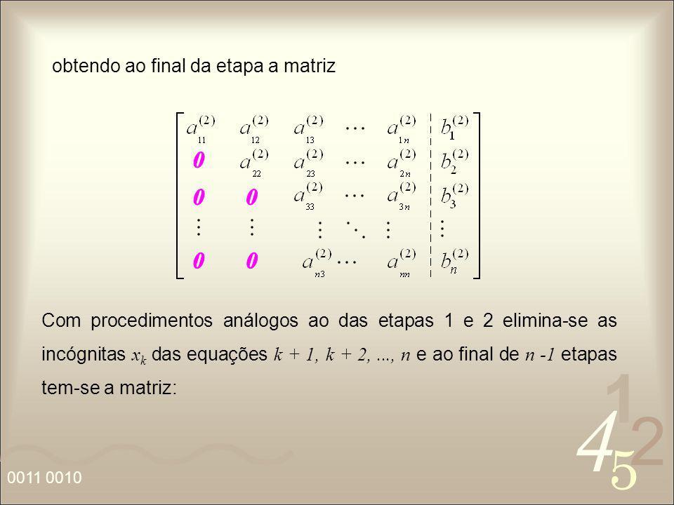 4 2 5 1 0011 0010 obtendo ao final da etapa a matriz Com procedimentos análogos ao das etapas 1 e 2 elimina-se as incógnitas x k das equações k + 1, k