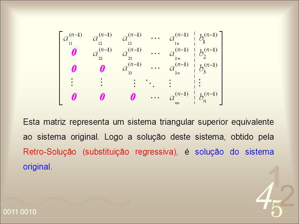 4 2 5 1 0011 0010 Esta matriz representa um sistema triangular superior equivalente ao sistema original. Logo a solução deste sistema, obtido pela Ret