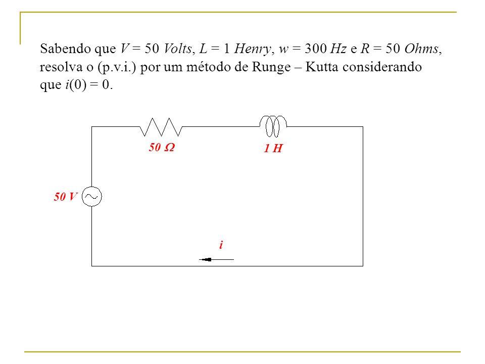 Sabendo que V = 50 Volts, L = 1 Henry, w = 300 Hz e R = 50 Ohms, resolva o (p.v.i.) por um método de Runge – Kutta considerando que i(0) = 0. 50 V 50