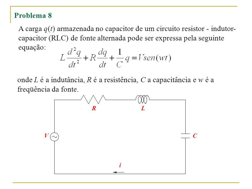 Problema 8 A carga q(t) armazenada no capacitor de um circuito resistor - indutor- capacitor (RLC) de fonte alternada pode ser expressa pela seguinte