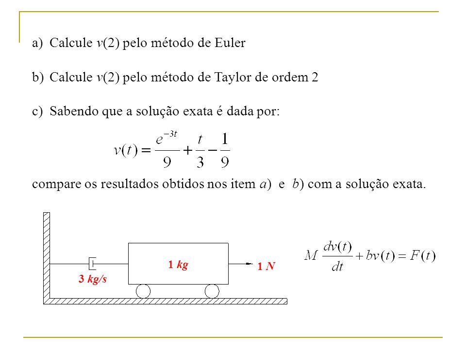 a)Calcule v(2) pelo método de Euler b)Calcule v(2) pelo método de Taylor de ordem 2 c)Sabendo que a solução exata é dada por: compare os resultados ob