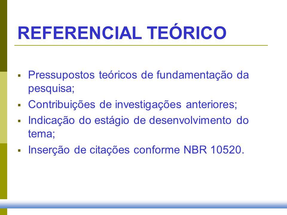 REFERENCIAL TEÓRICO Pressupostos teóricos de fundamentação da pesquisa; Contribuições de investigações anteriores; Indicação do estágio de desenvolvim