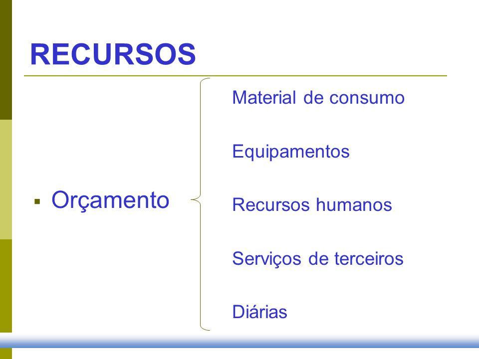 RECURSOS Orçamento Material de consumo Equipamentos Recursos humanos Serviços de terceiros Diárias