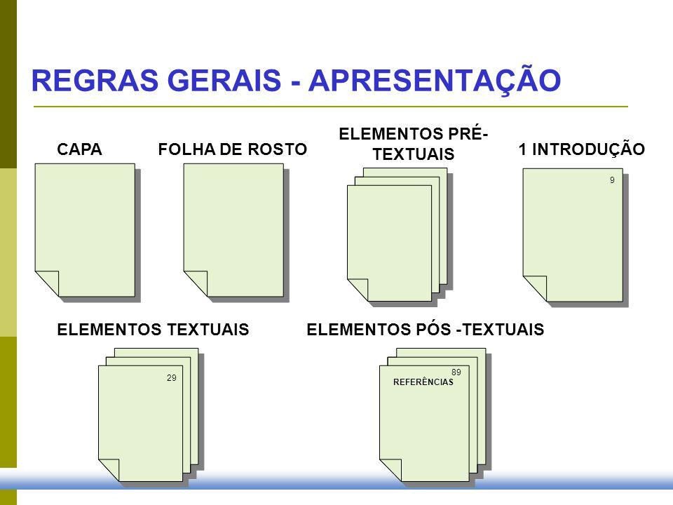 CAPA FOLHA DE ROSTO1 INTRODUÇÃO ELEMENTOS PRÉ- TEXTUAIS ELEMENTOS TEXTUAIS ELEMENTOS PÓS -TEXTUAIS 9 29 89 REFERÊNCIAS