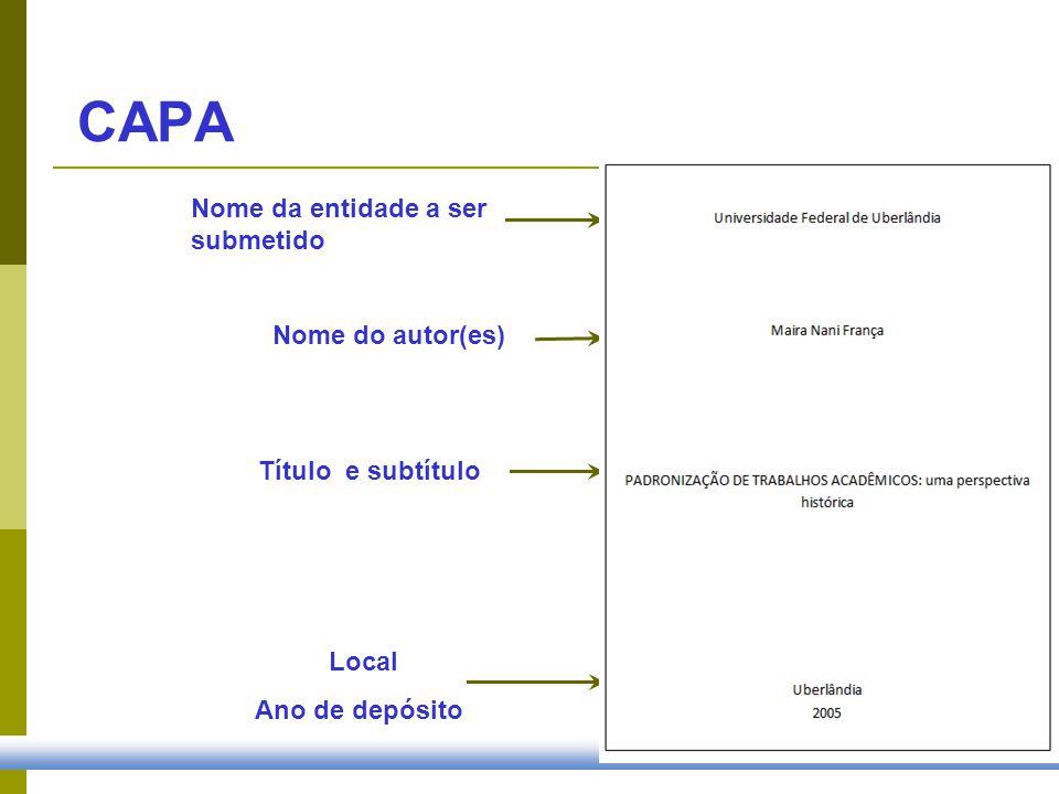 Nome do autor(es) Título e subtítulo CAPA Local Ano de depósito Nome da entidade a ser submetido