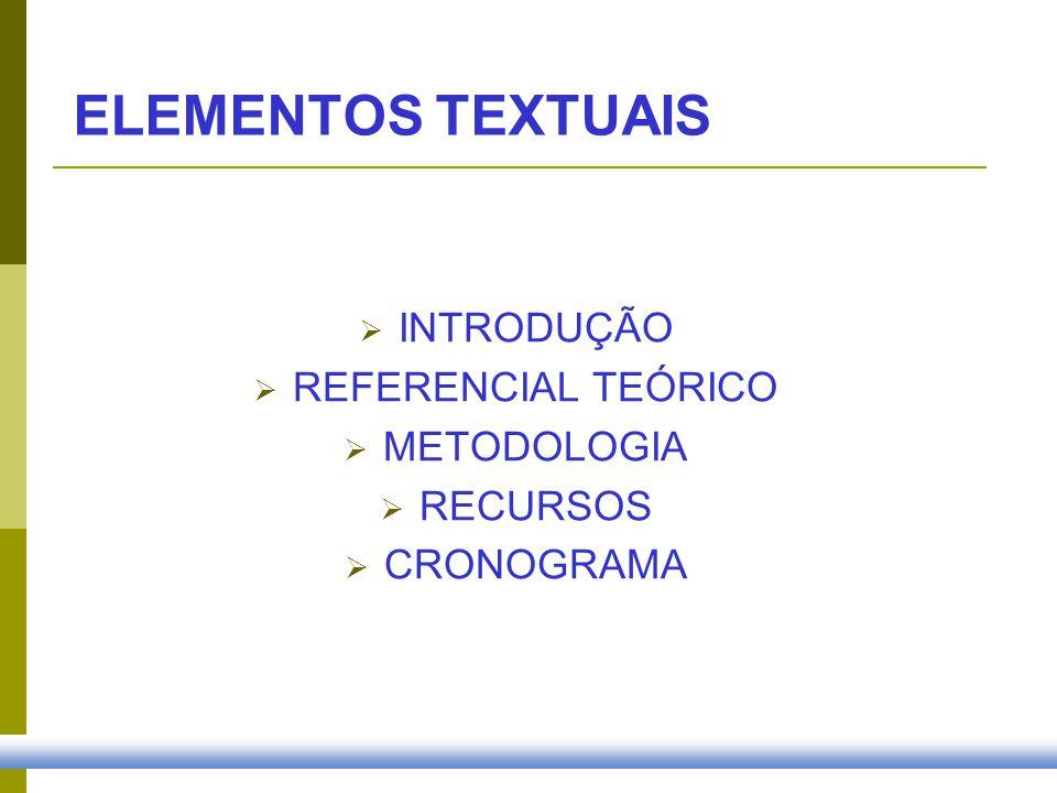 INTRODUÇÃO Tema: definição clara do assunto; Problema: constitui a indagação da pesquisa; Hipóteses: resposta provisória que guiará a condução da investigação; Objetivo(s): podem ser gerais e específicos.
