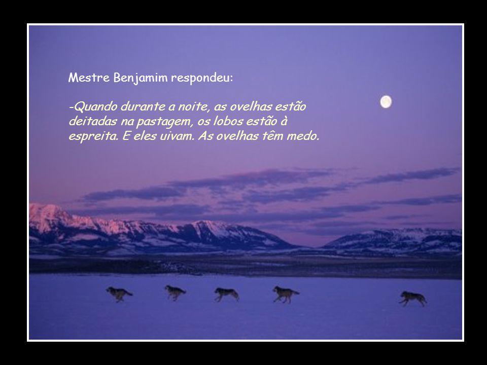 Mestre Benjamim respondeu: -Quando durante a noite, as ovelhas estão deitadas na pastagem, os lobos estão à espreita.