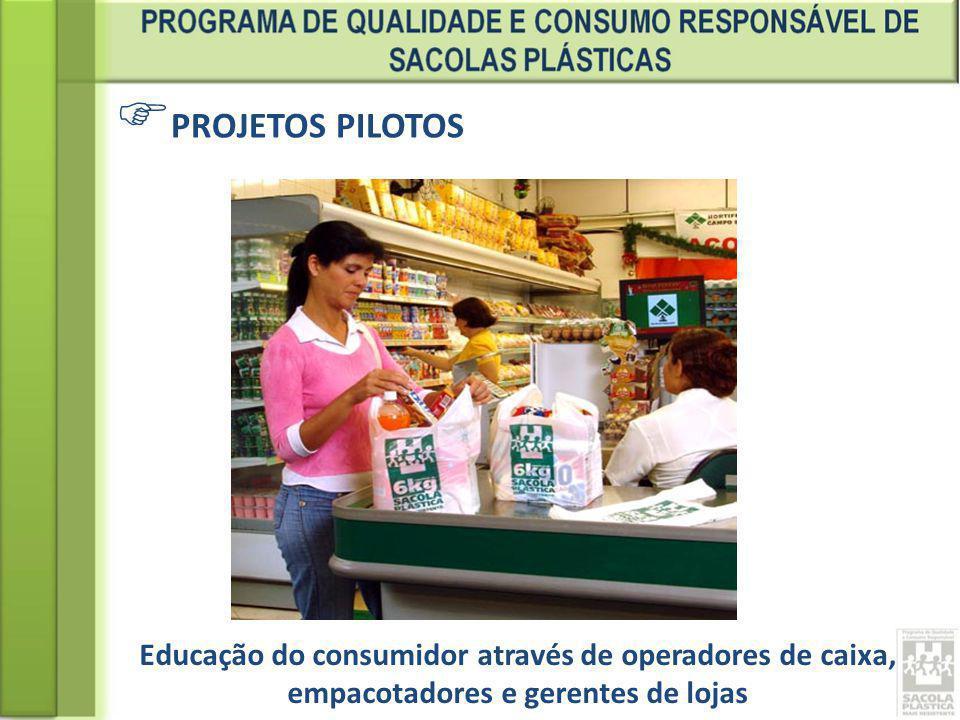 PROJETOS PILOTOS Educação do consumidor através de operadores de caixa, empacotadores e gerentes de lojas