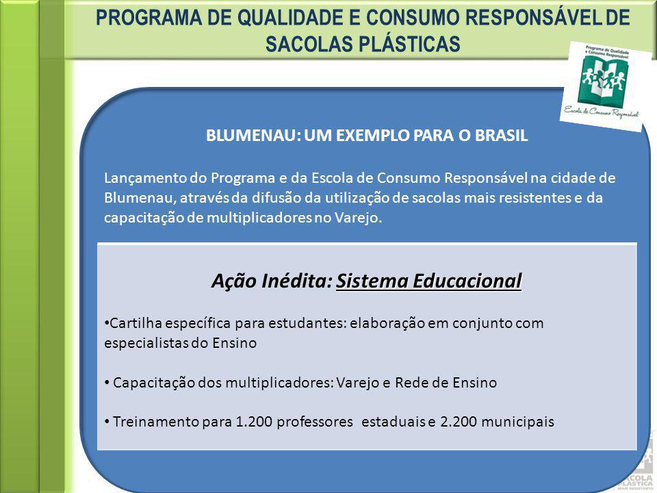 PROGRAMA DE QUALIDADE E CONSUMO RESPONSÁVEL DE SACOLAS PLÁSTICAS BLUMENAU: UM EXEMPLO PARA O BRASIL Lançamento do Programa e da Escola de Consumo Resp