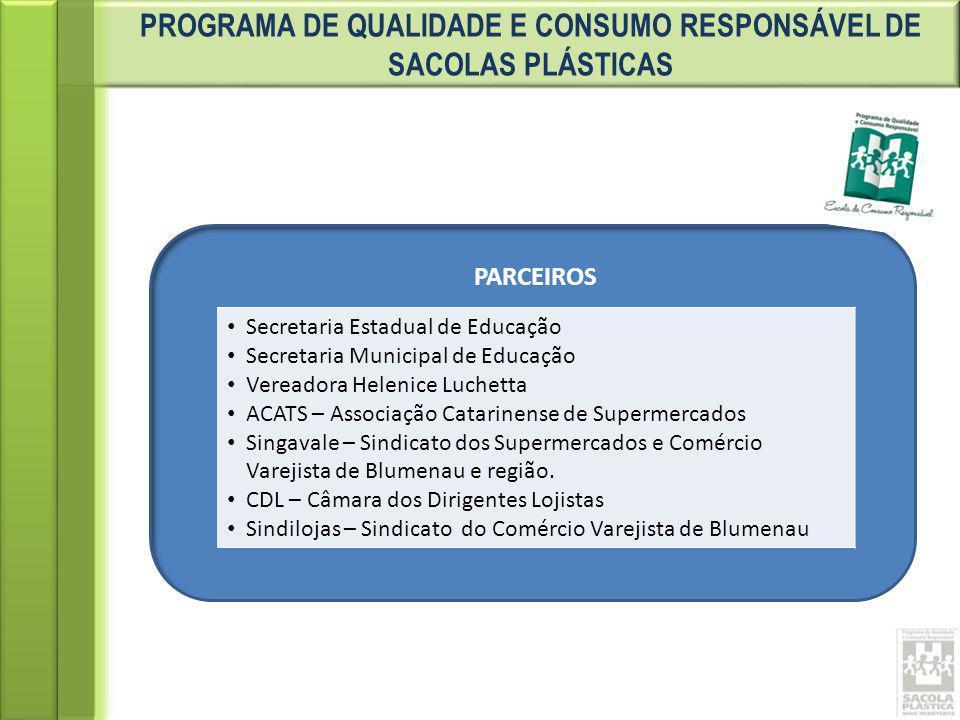 PROGRAMA DE QUALIDADE E CONSUMO RESPONSÁVEL DE SACOLAS PLÁSTICAS PARCEIROS Secretaria Estadual de Educação Secretaria Municipal de Educação Vereadora