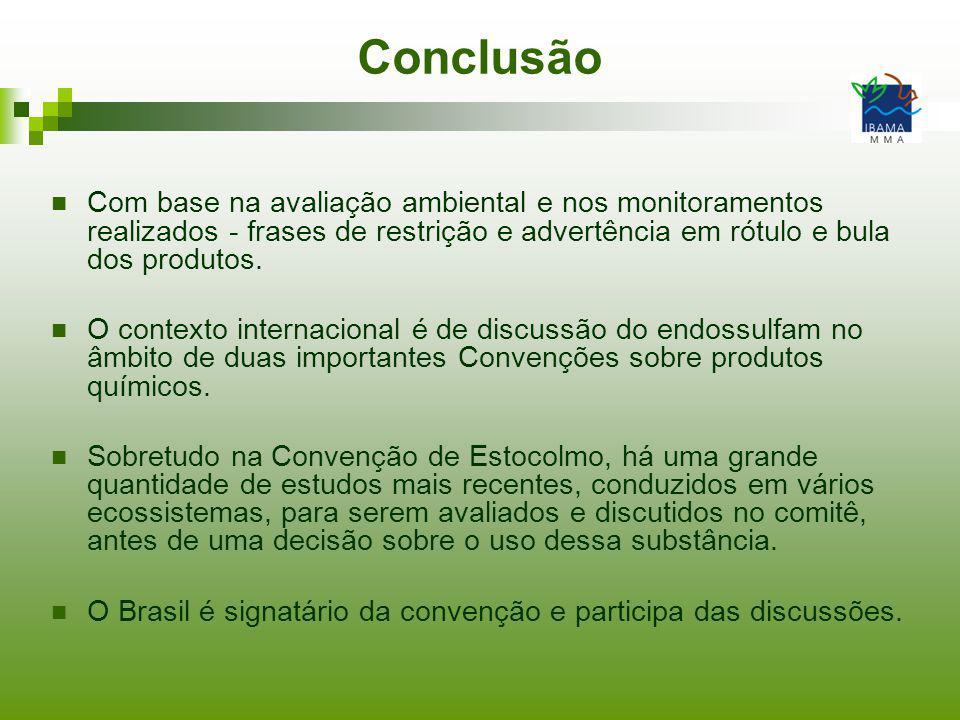 Conclusão Com base na avaliação ambiental e nos monitoramentos realizados - frases de restrição e advertência em rótulo e bula dos produtos. O context