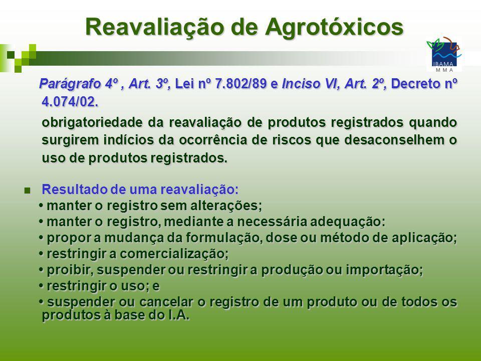 Reavaliação de Agrotóxicos Parágrafo 4º, Art. 3º, Lei nº 7.802/89 e Inciso VI, Art. 2º, Decreto nº 4.074/02. Parágrafo 4º, Art. 3º, Lei nº 7.802/89 e