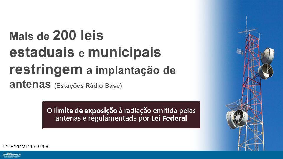 Mais de 200 leis estaduais e municipais restringem a implantação de antenas (Estações Rádio Base) O limite de exposição à radiação emitida pelas antenas é regulamentada por Lei Federal Lei Federal 11.934/09
