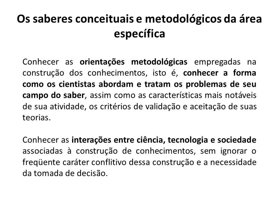 Os saberes conceituais e metodológicos da área específica Conhecer as orientações metodológicas empregadas na construção dos conhecimentos, isto é, co