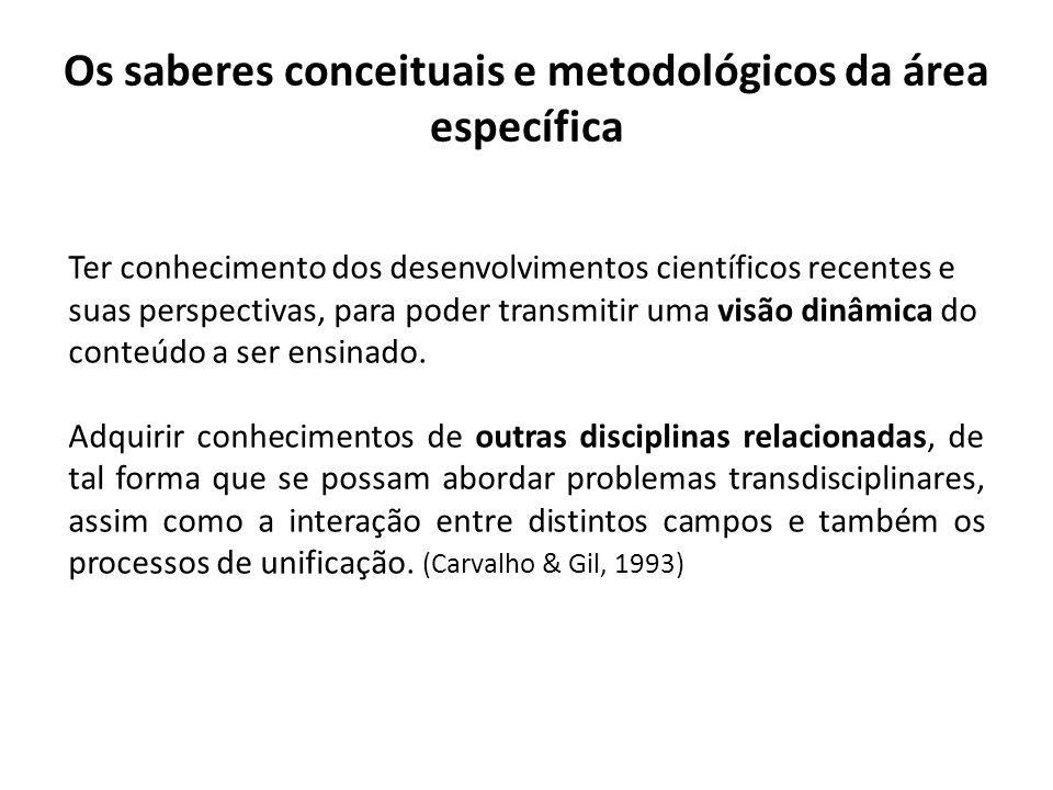 Os saberes conceituais e metodológicos da área específica Ter conhecimento dos desenvolvimentos científicos recentes e suas perspectivas, para poder t