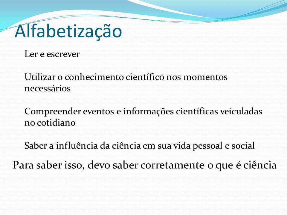 Alfabetização Ler e escrever Utilizar o conhecimento científico nos momentos necessários Compreender eventos e informações científicas veiculadas no c
